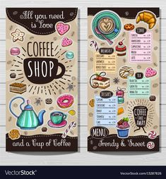 Awesome cool tips: coffee painting basic coffee machine station. Brochure Design, Flyer Design, Cafeteria Menu, Cafe Menu Design, Coffee Shop Menu, Sketch Style, Vintage Cafe, Retro Cafe, Desserts Menu
