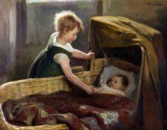 """""""At the Cradle"""" -- by Hendrik Maarten Krabbé (Dutch, 1868-1931)"""
