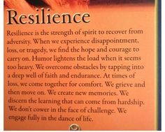 Resilience - you're not going to stop me from dancing... nice try though.