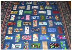 A nice take on a three rail quilt with a basketweave setting. A good use of novelty fabrics.