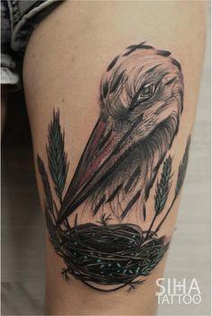 Stork Tattoo by Tayri Rodriguez at Siha Tattoo