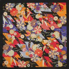 """""""BAMBOO:  Colorful on Black"""" Furoshiki"""