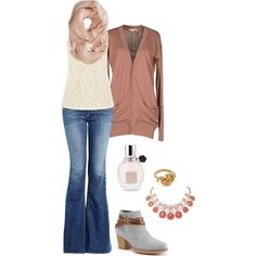 Girly fall outfit... I'd wear different shoes ;-)