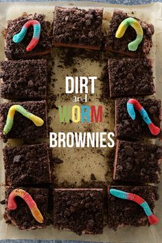 Dirt and Worm Brownies via perfectlysprinkled | rich chocolate brownies topped with a whipped chocolate frosting and sprinkled with oreo crumbs #chocolate #brownies