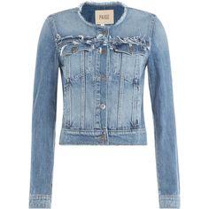 Paige Alondra Jacket (€275) ❤ liked on Polyvore featuring outerwear, jackets, coats & jackets, blue, long sleeve jean jacket, slim fit jean jacket, jean jacket, paige denim and denim jacket