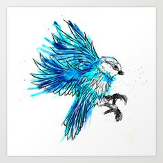 Watercolour blue Bird available on a variety of products now :)