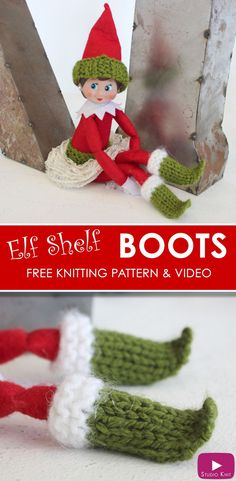 Elf on the Shelf Knitted Boots - Free Knitting Pattern + Video Tutorial with Studio Knit for dolls #StudioKnit #ElfontheShelfIdeas #knitting