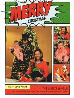 Comic Christmas card superhero pajamas the Justice League