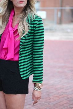 The blazer is an example of horizontal line, the striped pattern goes from left to right.