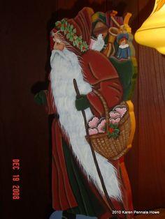 Pipka Santa Calus Tole Painted | Tole Painted Santa Claus