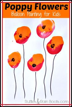 From Ruffles and Rain Boots: balloon painting for kids; Veteran's day craft, Memorial Day craft, quick toddler crafts: Set up this quick poppy painting activity with a surprise paintbrush - a balloon! It's so much fun, even the littlest ones can do it. Remembrance Day Activities, Remembrance Day Art, Daycare Crafts, Fun Crafts, Crafts For Kids, Poppy Craft For Kids, Art For Kids, Kids Fun, Toddler Art