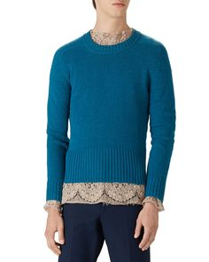Wool Crewneck Sweater, Blue, Women's, Size: LARGE - Gucci