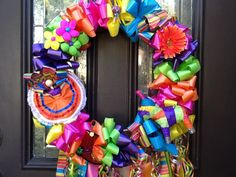 Fiesta Wreath San Antonio Party Time by andallthat on Etsy Mexican Paper Flowers, Wedding Pom Poms, Tissue Pom Poms, Mexican Christmas, Wire Wreath Frame, Paper Flower Backdrop, Deco Mesh Wreaths, Ribbon Wreaths, Fall Wreaths