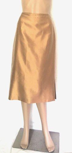 Max Mara Gold Pura Seta (Silk) A Line Skirt - Size 6 - EUC #MaxMara #ALine
