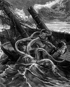 narcissus nicaise perilous adventures in the congo. he had before him a fearsome sea monster vintage engraved illustration. Kraken Art, Kraken Tattoo, The Kraken, Sea Tattoo, Mythological Creatures, Fantasy Creatures, Mythical Creatures, Monster Museum, Tatoo