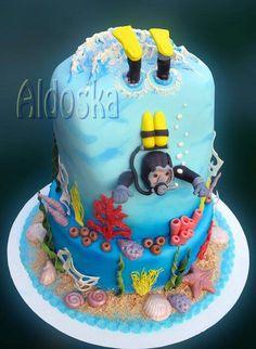 Cake for boys at 18 birthday. Beach Themed Cakes, Beach Cakes, Cupcakes, Cupcake Cakes, Scuba Cake, Sirenita Cake, Rodjendanske Torte, Ocean Cakes, Shark Cake
