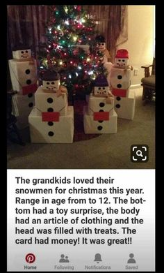 What a cute idea!! Instead of ridiculous numbers of presents, stick with 3 and a card. Cute and sensible. Fun Christmas Presents, Gift Wrapping Ideas For Christmas For Kids, Cute Gift Wrapping Ideas, Christmas Traditions Kids, Diy Christmas Gifts For Family, Thoughtful Christmas Gifts, Snowman Christmas Decorations, Cute Gift Boxes, Wrapping Gifts