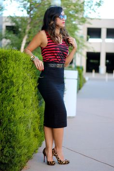 bodycon pencil skirt, Louboutin heels i;m going to try this outfit