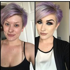 with a little inspired photo with her purple pixie cut Purple Pixie Cut, Short Purple Hair, Light Purple Hair, Short Thin Hair, Hair Color Purple, Cool Hair Color, Short Hair Styles, Pixie Cut Color, Pixie Cut With Highlights