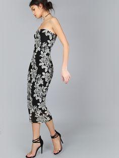 Shop Black Flower Print Bandeau Midi Dress online. SheIn offers Black Flower Print Bandeau Midi Dress & more to fit your fashionable needs.