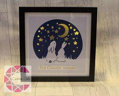 Hand drawn Paper-cut light up star gazing rabbit and bunny
