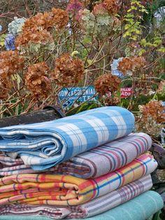 Vintage Welsh blanket Bluebell & Cream by janebeckwelshblanket welshblanket.co.uk