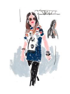 Fashion Illustration - Style at Fashion Week - monstylepin #fashion #illustration #damiencuypers #crayon #print #fashionweek #style