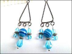 Sky Blue Striped Agate Antique Silver Blue Crystal Chandelier Earrings | specialtivity - Jewelry on ArtFire