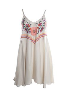 Judith March Swing Dress w/ Mexican Embroidery Bodice & Braided Strap
