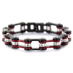 "1/2"" Wide Two Tone Black & Candy Red with crystal centers motorcycle chain. Buy Candy Red & Black Bike Chain Bracelet with Crystals online for the best price of $29.95."