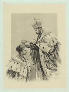 Tsar Nicholas II crowning his consort, Alexandra Feodorovna - May Since the time of Peter the Great, Empresses of Russia could receive the crown only from the hands of their husbands. Tsar Nicolas Ii, Tsar Nicholas, Alexandra Feodorovna, Anastasia, Familia Romanov, House Of Romanov, Imperial Crown, Peter The Great, Imperial Russia