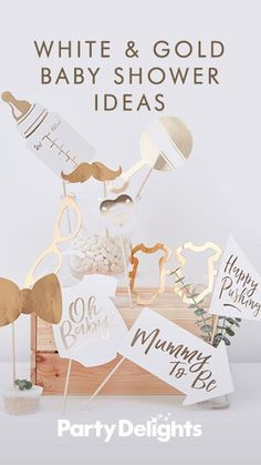 White & Gold Baby Shower Ideas Planning a baby shower for a special mum-to-be? Get inspiration for decorations, party games and activities from our white and gold baby shower ideas. Everything featured in this post is available from . Fotos Baby Shower, Idee Baby Shower, Shower Bebe, Baby Shower Photo Props, Girl Shower, Ideas For Baby Shower, Baby Ahower Ideas, Planning A Baby Shower, Gender Reveal Party Invitations