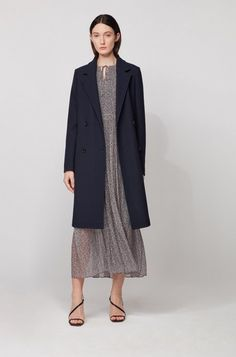 BOSS - Relaxed-fit coat in waffle-structured stretch fabric Hugo Boss, Fit Back, Jacquard Weave, Smart Casual, Elegant, Waffle, Stretch Fabric, Mantel, Double Breasted