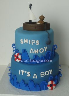http://cakedecoratingcoursesonline.com/cake-decorating/ Sailor baby shower cake. #Create Your Own #Baby #Shower #Cake - Get best Cakes Decoration Tutorials on http://CakeDecoratingCoursesOnline.com - Join now!