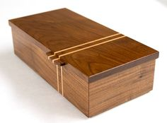 Walnut box with mitered corner joints and a Maple racing stripe design.