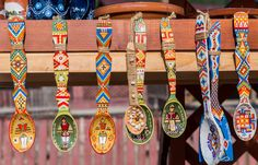 VORONET, ROMANIA - AUGUST Traditional wooden spoons from Bucovina, Romania with romanian writing on, sold at local market near Monastery Voronet - stock photo Wooden Spoon Crafts, Wooden Spoons, Traditional Paintings, Traditional Art, Indian Diy, Painted Spoons, Folk Art Flowers, Puzzle Of The Day, Diy Canvas Art