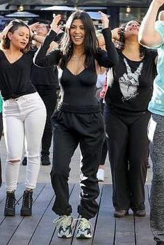 04ec53f4b Kourtney Kardashian wearing Adidas Yeezy 700 Wave Runner Sneakers