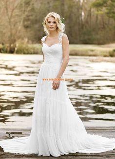 Robe de mariée mousseline dos transparent traîne belle charment