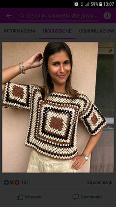 Crochet Basket Pattern, Crochet Cardigan Pattern, Crochet Blouse, Knit Crochet, Crochet Patterns, Crochet Squares, Crochet Accessories, Crochet Clothes, Sewing Hacks
