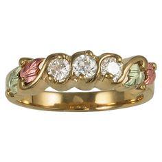 Cubic Zirconia Black Hills Gold Ring