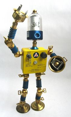 CD - Found Object Robot Action Figure Assemblage Sculpture By Brian Marshall 2