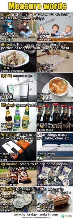 Chinese vocabulary of measure words.  bēi 杯/ píng瓶 = cup, glass/ bottle, yì bēi /píng shuǐ 一杯/瓶水(1 glass/bottle of water)