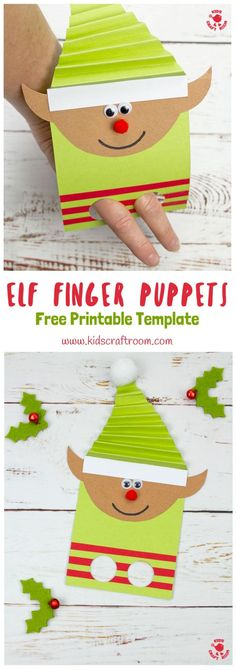 Kids will love this Christmas Elf Finger Puppet craft.Use your fingers to make the elf puppets dance about helping Santa and being mischievous! A fun Christmas craft for kids. (Free printable elf craft template) via Christmas Crafts For Kids To Make, Paper Crafts For Kids, Kids Christmas, Holiday Crafts, Preschool Christmas Activities, Preschool Crafts, Preschool Kindergarten, Puppets For Kids, Puppet Crafts