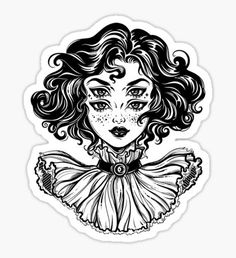 Gothic witch girl head portrait with curly hair and four eyes. Poster tattoo girl drawing Gothic witch girl head portrait with curly hair and four eyes. Kunst Tattoos, Tattoo Drawings, Body Art Tattoos, Art Drawings, Gothic Drawings, Weird Drawings, Drawing Drawing, How To Draw Tattoos, Psychedelic Art