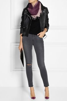 Leather Jacket, jeans + Chan Luu Scarf to pull it together