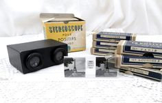 Antique French Boxed Stereoscope 3D Gadget with 6 Boxes of 12 Films of Paris, Lourdes, Pyrénées, Versailles Castle, Rocamadour, St Theresa by VintageDecorFrancais on Etsy