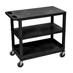 "Luxor High Capacity Single-tub Shelf and 2-flat Shelf Cart (Luxor 32""W x 18""D Utility Cart)"