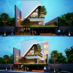 Hoan Villa Design & Render www. Modern Bungalow Exterior, Bungalow House Design, House Front Design, Dream House Exterior, Modern Architecture House, Facade Architecture, Residential Architecture, Amazing Architecture, Villa Design