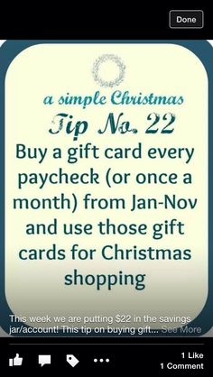 Buy a gift card every payday or once a month to put away for Christmas shopping. Saving Money For Christmas, Christmas On A Budget, Christmas Shopping, All Things Christmas, Simple Christmas, Christmas Savings Plan, Christmas Thoughts, Cheap Christmas, Beautiful Christmas