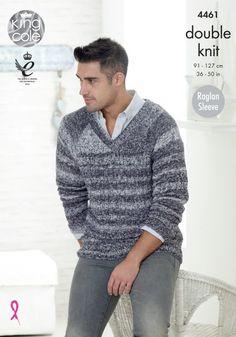 Mens Cable Detail V Neck Sweater /& Slipover Aran Knitting Pattern King Cole 4628